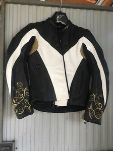 Ladies All Star Leather motorcycle jacket black gold white Bossley Park Fairfield Area Preview