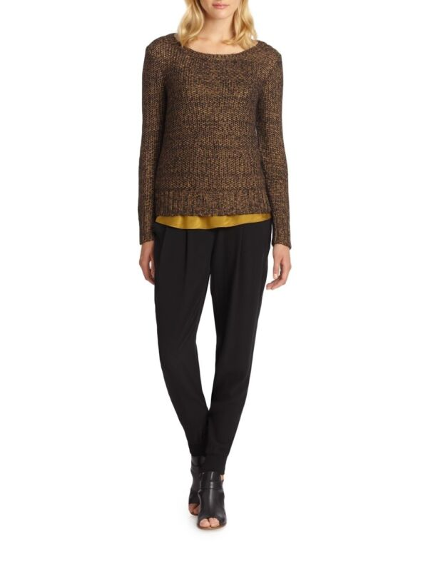 $258 EILEEN FISHER Blackgold Mohair Metallic Sheen Ballet Neck Top sz L NWT