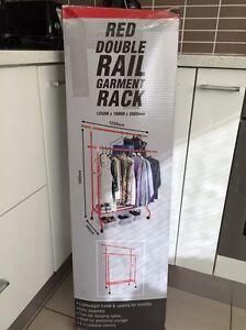 Romak Red Double Rail Garment Rack  - Great Condition Sans Souci Rockdale Area Preview