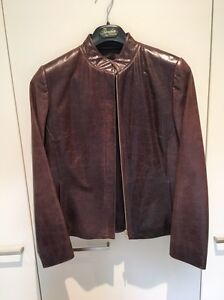 Size 10 Jigsaw brown leather jacket $50 Meadowbank Ryde Area Preview