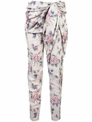 NWT Y/PROJECT Light Gray Floral Draped Knot Waist Slim Leg Trousers Pants S $995