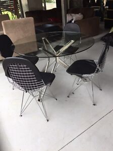 Modern glass table dining setting with 4 chairs Chelmer Brisbane South West Preview