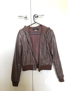 Brown leather jacket with hoody Spring Farm Camden Area Preview