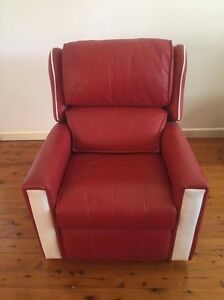 Red Leather Armchair Yowie Bay Sutherland Area Preview
