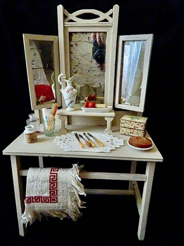 Antique Doll Size White Wooden Dressing Table Vanity w/ Accessories
