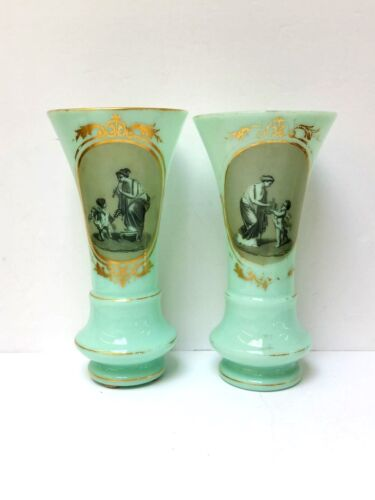 Antique Pair of French Light Green Opaline Glass Vases Hand painted