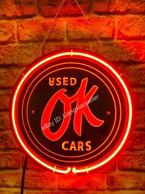 Used OK Cars Autos Dealer Decor 3D Acrylic Beer Bar PUB  Real Neon Sign light