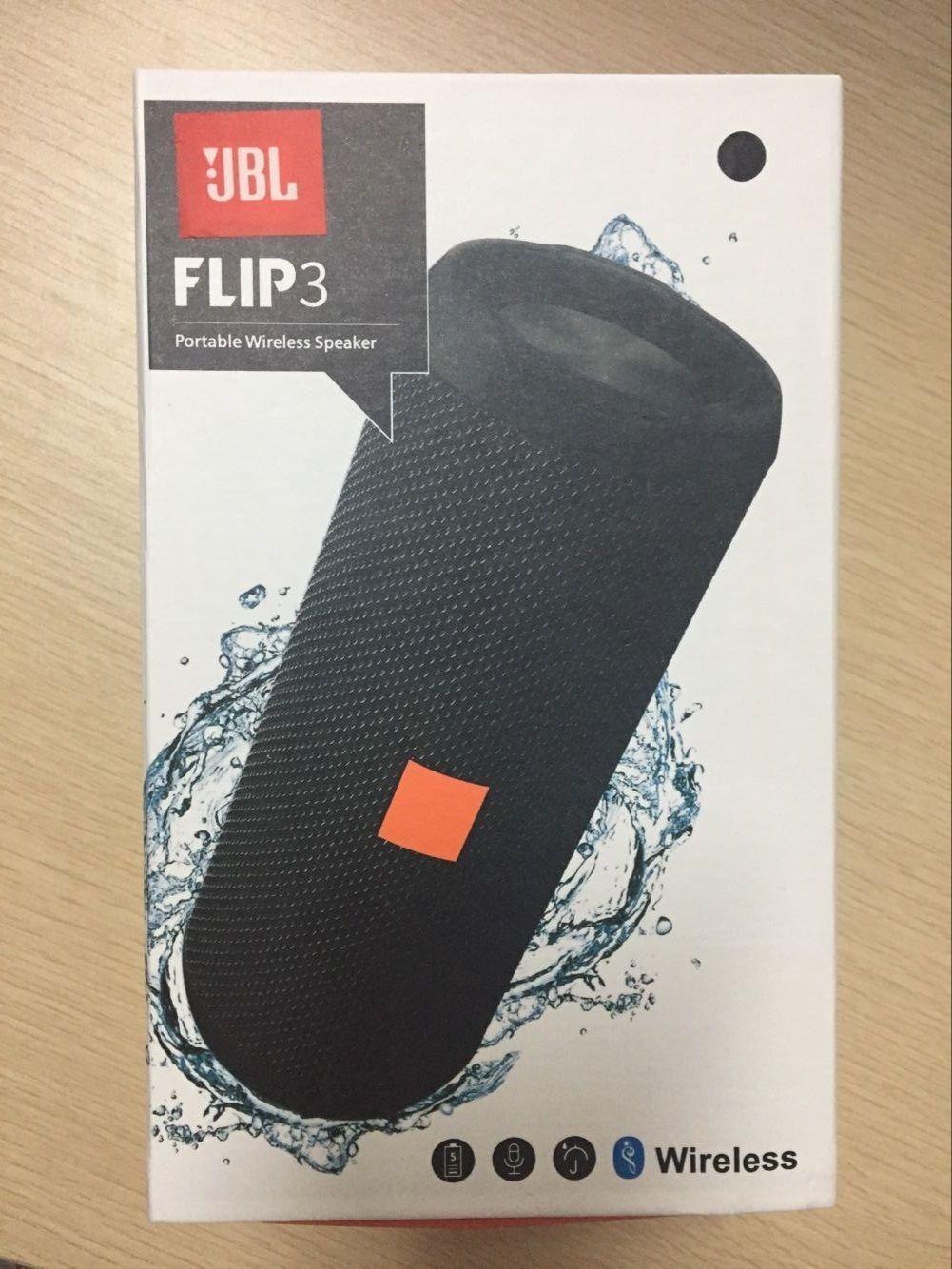 New JBL Flip 3 Splashproof Portable Bluetooth Speaker-BLACK