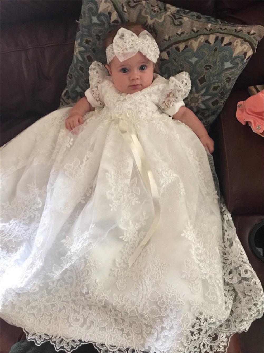 Infant 0-24 M Baptism Dress White Ivory Lace Christening Rhinestone Gown InStock