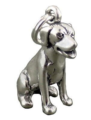 Labrador Dog Charm Sterling Silver Pendant Sitting Lab 3d Animal Pet