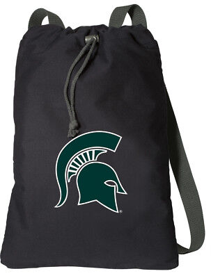 MICHIGAN STATE COTTON Drawstring Bag COOL MSU Logo COTTON BACKPACKS - NOT NYLON