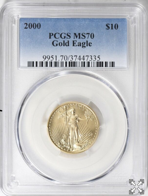 2000 $10 GOLD EAGLE PCGS MS70 POP ONLY 20 COINS