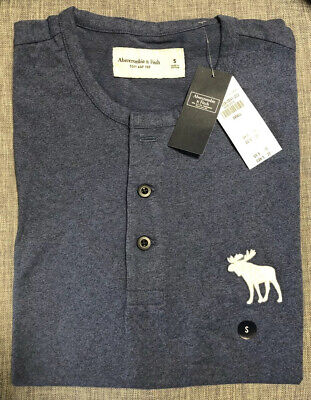 Abercrombie Mens Small Blue Henley NWT Exploded Icon Shirt