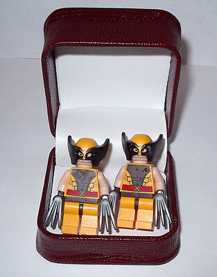 REAL WOLVERINE  LEGO CUFFLINKS IN BEAUTIFUL JEWELRY BOX- WEDDING BEST MAN