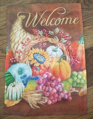 """Thanksgiving Welcome Cornucopia 12.6"""" X 18"""" Garden Flag Pre Owned 1 Flag"""