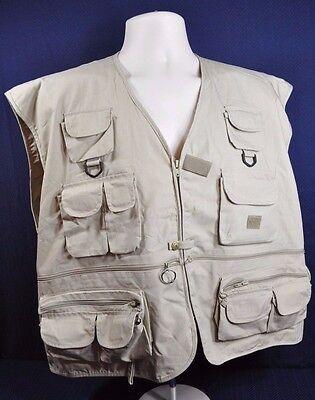 Rio Bravo Mens Fly Fishing Vest Size Xxl Hunting Khaki Tan Multi Pockets
