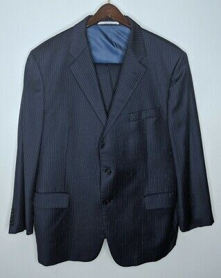 Recent Hickey Freeman Lindsey Navy Wool Striped Suit 46R Flat Front Pants Sz 42