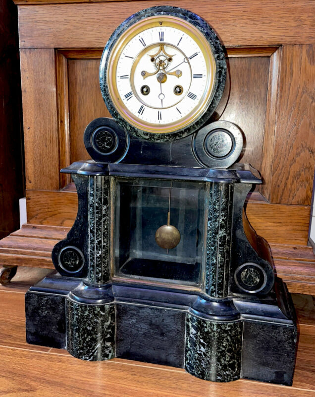 Large Samuel Marti Antique Marble & Glass French Clock- Open Escapement