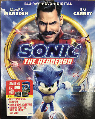 Sonic The Hedgehog (Blu-ray + DVD + Digital, 2020) & LIMITED ED COMIC BOOK NEW!