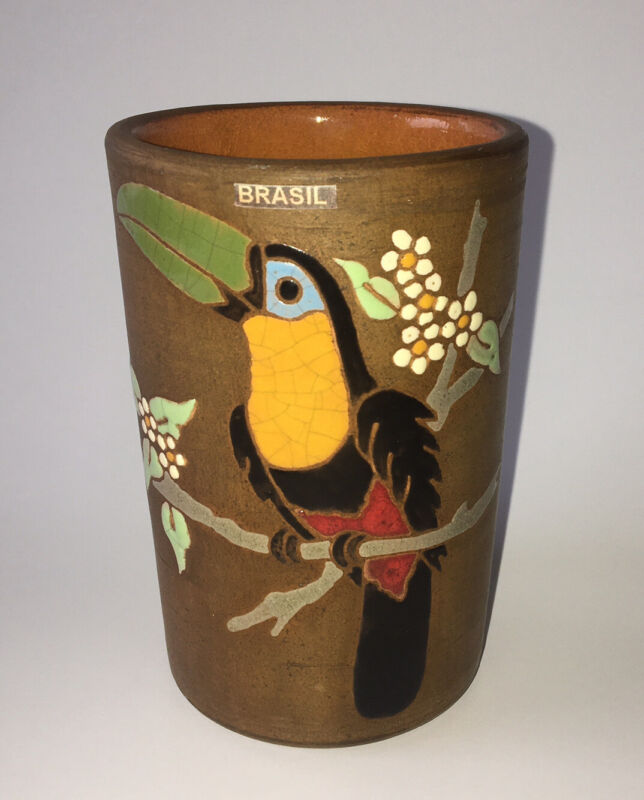 "Art Pottery Toucan Cup Pencil Holder Brazil Souvenir~4 1/4"""