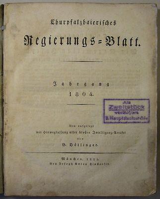 CHURPFALZBAIERISCHES REGIERUNGS-BLATT kompl. Jahrgang 1804, Original, Selten