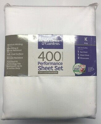 Better Homes & Gardens 400 Thread Count Performance Sheets King Bed 100%