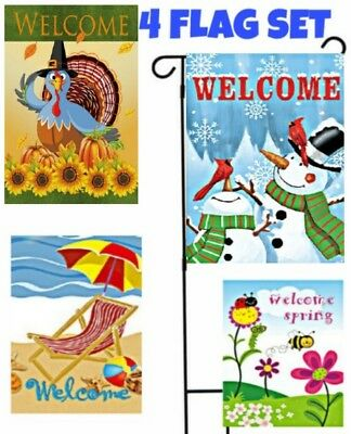 *SET OF 4 Flags* Seasons Welcome Garden Flags,Gift,Lawn Decor,Double Sided 12x18](Welcome Gift)