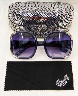 Joan Boyce Navy / Silver oversized womens sunglasses with hard case 3488042ck](Navy Sunglasses)
