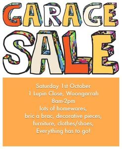 Garage sale Saturday 1st October Woongarrah Rouse Hill The Hills District Preview