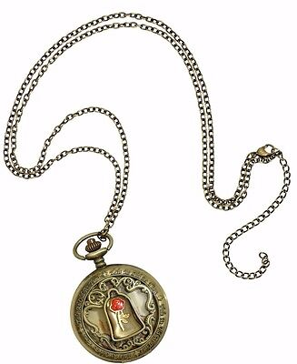 Disney Beauty & The Beast Red Rose Dome Burnished Gold Pocket Watch Necklace NEW