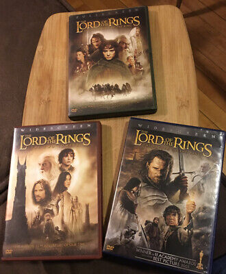 Lot of 3 ~ The Lord of the Rings  Widescreen  Full screen DVD Lot 6 Discs Action