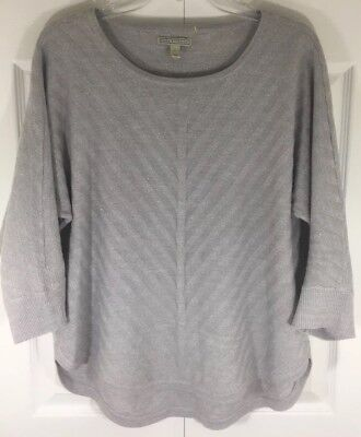 Dana Buchman color gray little metallic women sweater size L long sleeve 17 L26 for sale  Shipping to Canada