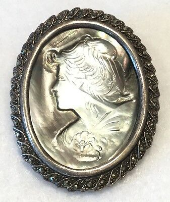 Vintage Iridescent Abalone CAMEO 2-in-1 Brooch in 925 Sterling & Marcasite Frame