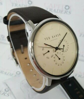 Ted Baker TE50623001 Men's 42mm Silver Tone Ivory Dial Leather Strap Watch -NWT-