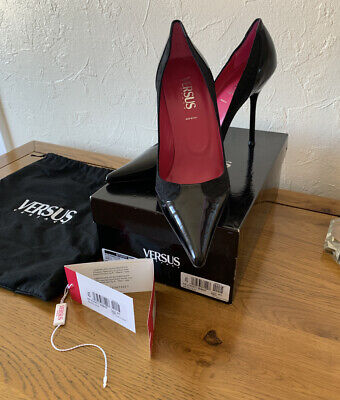 BNIB LADIES WOMENS VERSACE VERSUS LEATHER DÉCOLLETÉ SHOES HEELS SIZE EU 40