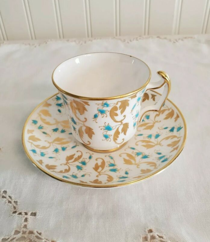 Vintage Royal Chelsea Tea Cup & Saucer Aqua Blue Flowers With Gold Leaves