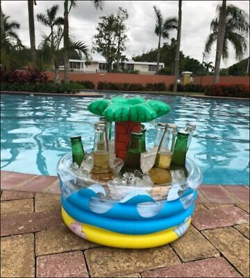 Ice Bucket – Floating Beer Cooler - Palm Tree Inflatable Cooler - Party Decor