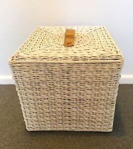 Lidded white stone wash wicker storage baskets x 4 Mosman Mosman Area Preview