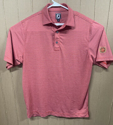 Footjoy Golf Athletic Fit Polo Rugby Shirt; Mens Large; Red Gray Striped; Patch