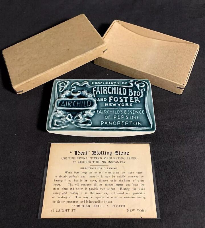 RARE FAIRCHILD BROS. & FOSTER GLAZED CERAMIC ADVERTISING BLOTTER C.1899 W/ BOX