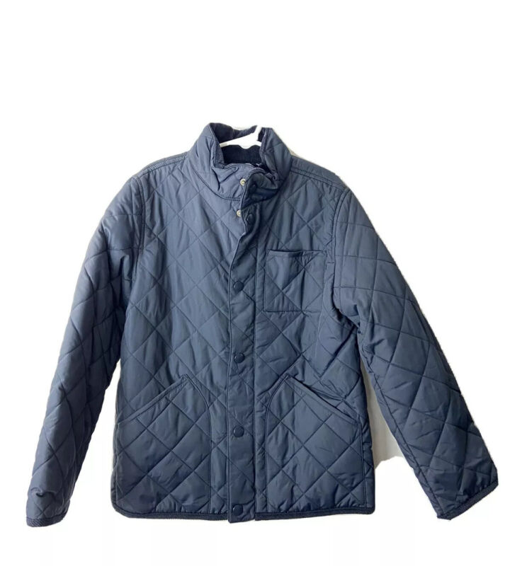 j crew crewcuts Boys Quilted Field Jacket Navy Blue Size 6/7 Everyday Outerwear