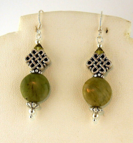 Irish Connemara Marble Celtic Knot earrings with Swarovski crystals