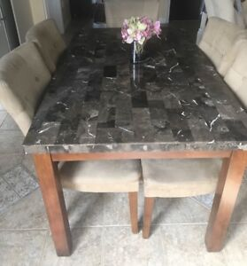 Marble dining table w/6 chairs