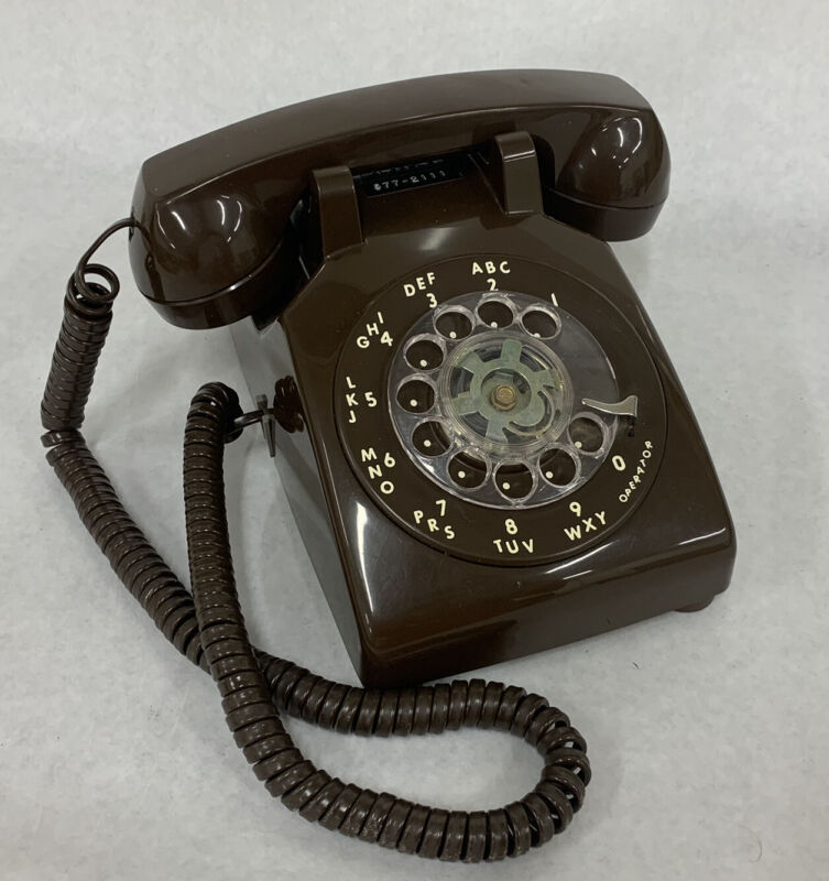 Vintage Rotary Dial ITT Chocolate Brown Desk Phone Telephone TESTED Working