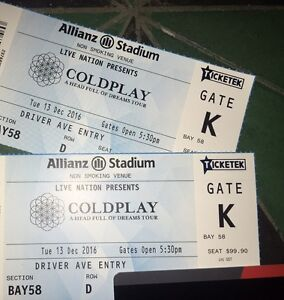 Coldplay Sydney 13th Silver Seated x 2 Row D Bondi Junction Eastern Suburbs Preview