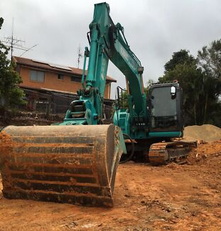 14 tonne excavator for hire with operator, earthmoving, civil