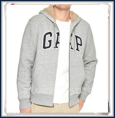 Arched Logo Zip - GAP Sherpa-lined arch logo zip hoodie GREY HEATHER Soft, comfy fleece JACKET MEN