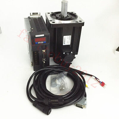 2.4nm 750w Nema34 Ac Servo Motor 220v 3000rmin Drive Cnc Machine Kit 3m Cables