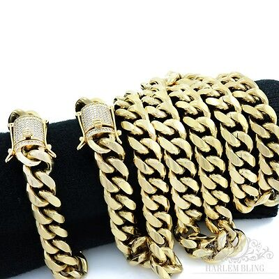 Men Cuban Miami Link Bracelet & Chain Set  14k Gold Plated 12mm *Diamond Clasp*