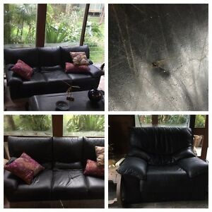 Uber comfy black leather lounge suite Avalon Pittwater Area Preview